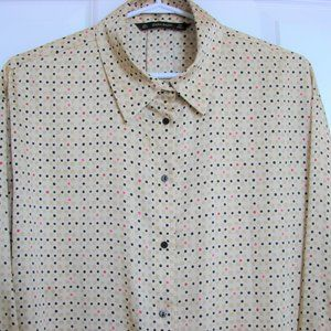 Zara Tan Gold Black Polka Dot Satin Blouse
